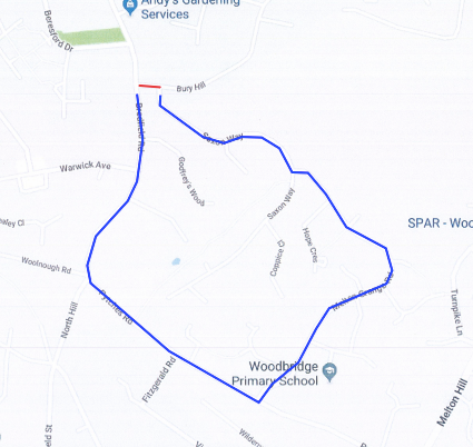 Bury Hill road closure map