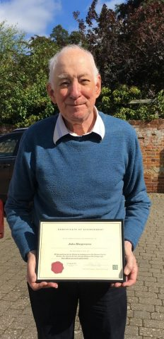 John Hargreaves receiving his award