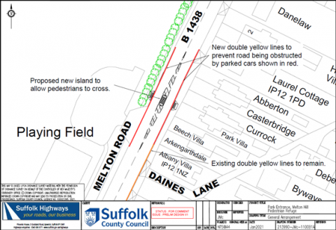 Map showing crossing at the playing fields