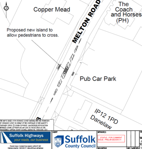 Proposed crossing on Melton Road